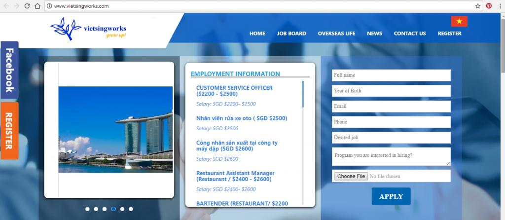 Website tuyển dụng Vietsing Works