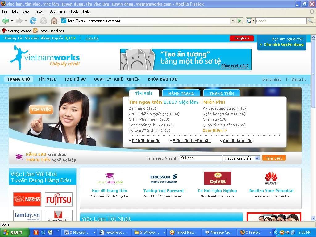Website tuyển dụng Vietnam Works