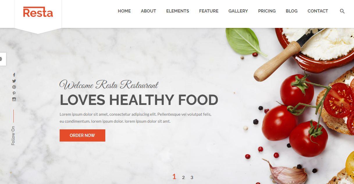 Resta - mẫu giao diện website nhà hàng đẹp