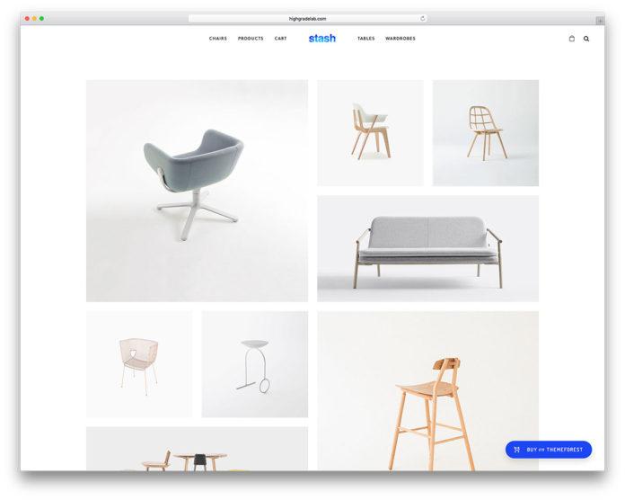 Mẫu website Stash là một trong những mẫu website nội thất hàng đầu 2019.