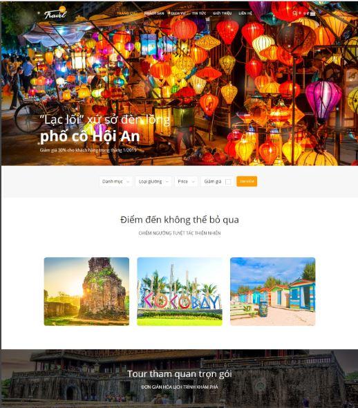 Mẫu website du lịch tương tự Travel Vn