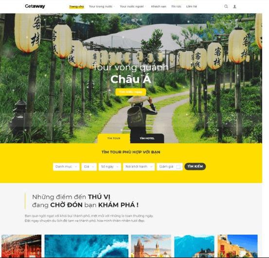 Mẫu website du lịch Getaway.