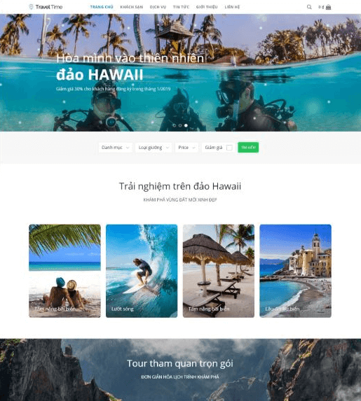 Mẫu website du lịch Traveltime.