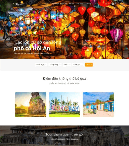 Mẫu website travelvn.