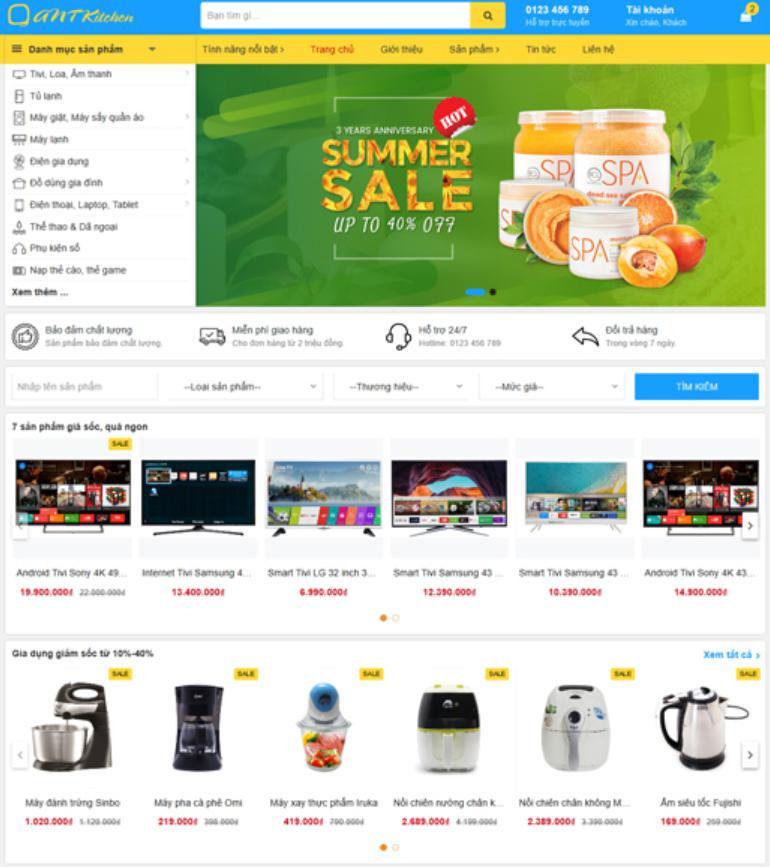 Mẫu website bán hàng đẹp Ant Kitchen
