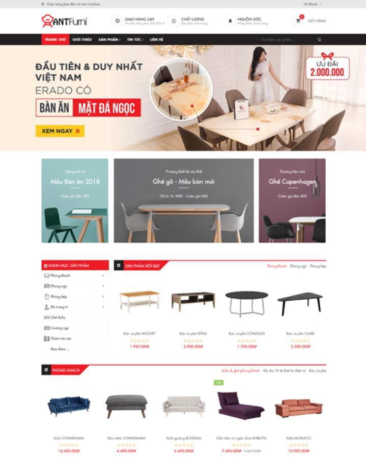 mẫu web bán hàng đẹp Ant Furniture