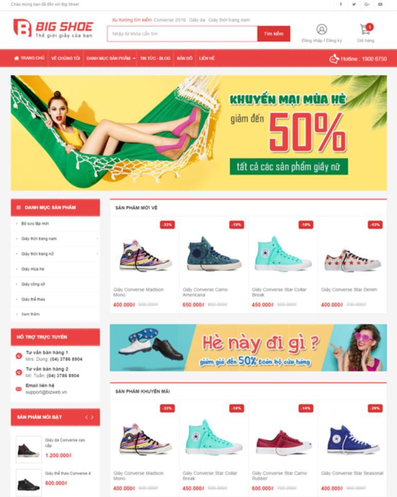 Mẫu giao diện website bán hàng Big Shoe