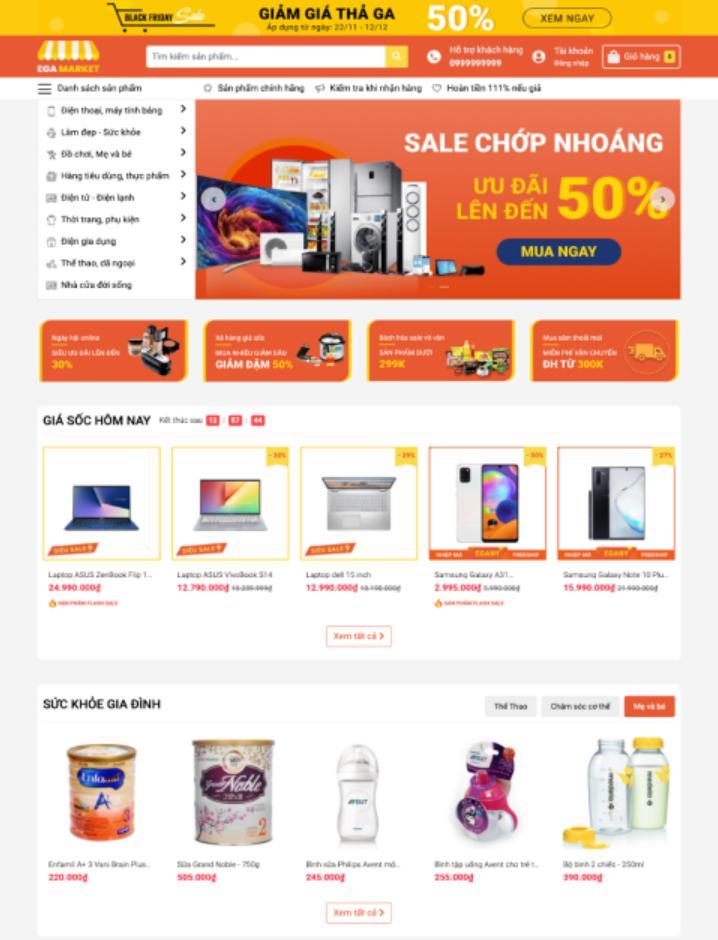 mẫu website bán hàng đẹp EGA Market