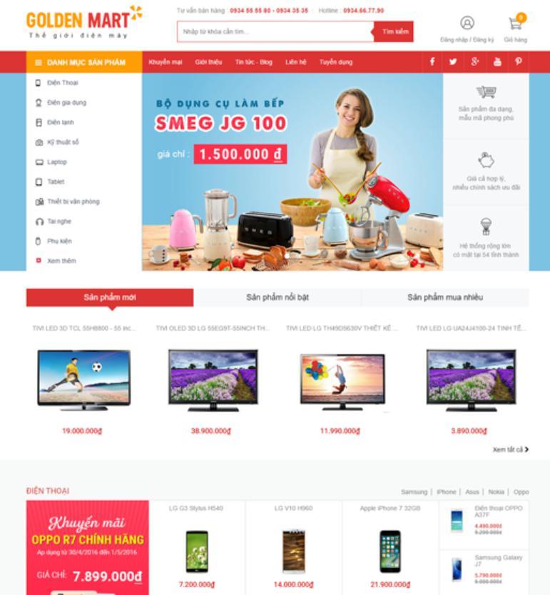 mẫu web kinh doanh online Golden Mart