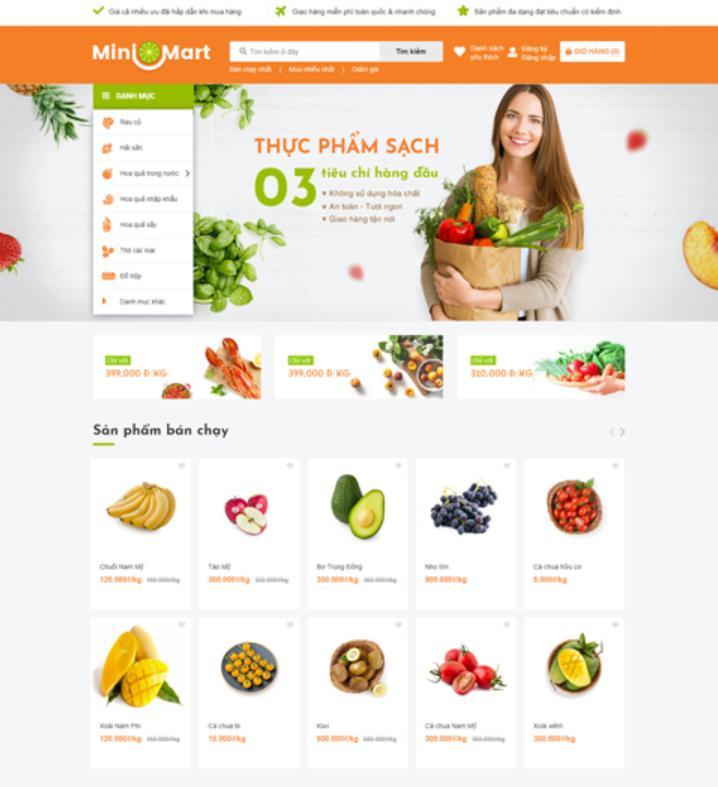 mẫu giao diện web bán hàng Minimart