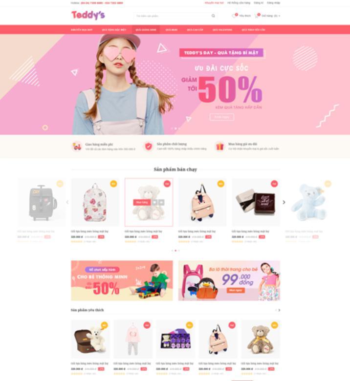 Mẫu giao điện trang web bán hàng Teddy's