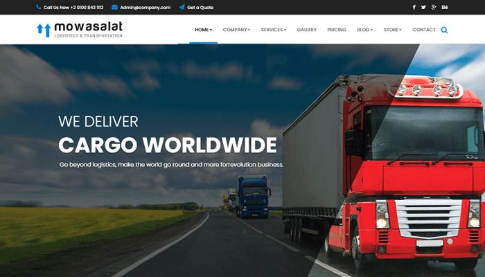 Mẫu website dịch vụ vận tải - Mowasalat